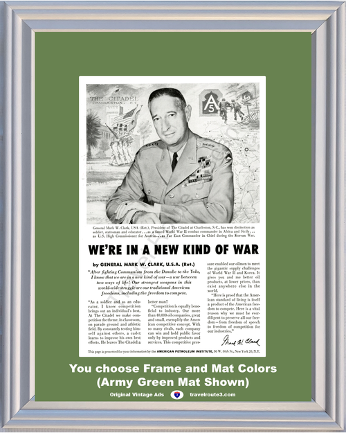 1956 American Petroleum Fighting Communism Vintage Ad General Mark Clark The Citadel Charleston Oil 56 *You Choose Frame-Mat Colors-Free USA S&H*