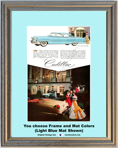 1956 Cadillac The Greenbrier Resort Vintage Ad 56 Coupe de Ville Convertible Gowns by Lanvin Castillo *You Choose Frame-Mat Colors-Free USA S&H*
