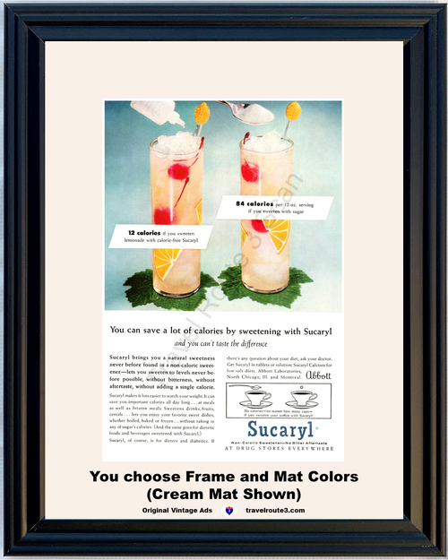 1956 Sucaryl Diet Lemonade Vintage Ad Non Caloric Sweetener Health and Wellness Lose Weight Calories 56 *You Choose Frame-Mat Colors-Free USA S&H*