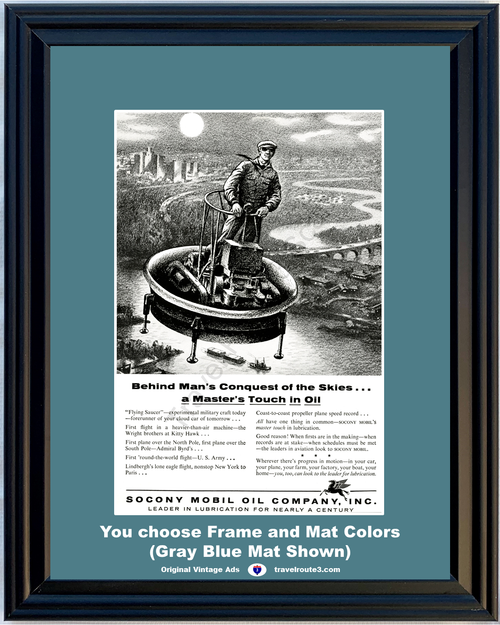 1956 Mobile Oil Flying Saucer Vintage Ad Cloud Car Experimental Craft Conquest of the Skies Socony Pegasus *You Choose Frame-Mat Colors-Free USA S&H*