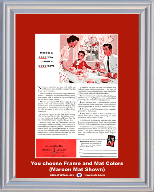 1956 Breakfast Good Way to Start a Day Vintage Ad Nutrition Metropolitan Life Met Health and Wellness 56 *You Choose Frame-Mat Colors-Free USA S&H*