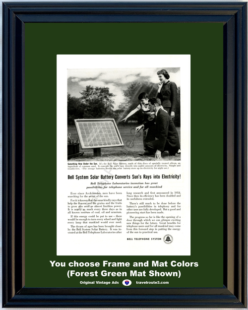 1956 Solar Energy Power Vintage Ad Bell Telephone Green Panel Sun Rays Electiricity Battery AT&T ATT 56 *You Choose Frame-Mat Colors-Free USA S&H*