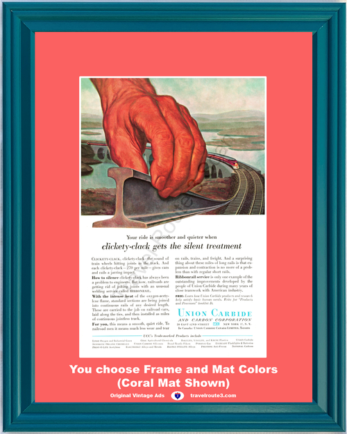 1956 Clickety Clack Train Tracks Vintage Ad Silent Treatment Ribbonrail Welding Railroad Smoother Ride 56 *You Choose Frame-Mat Colors-Free USA S&H*