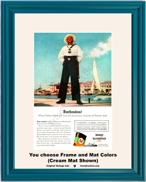 1956 Barbados Cruise Vacation Vintage Ad Travel Harbor Police Nelson's Day Moore McCormack Lines 56 *You Choose Frame-Mat Colors-Free USA S&H*