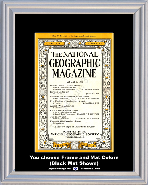Copy a Product - 1946 National Geographic Magazine Cover Volume LXXXIX - Number One 46 *You Choose Frame-Mat Colors-Free USA S&H*