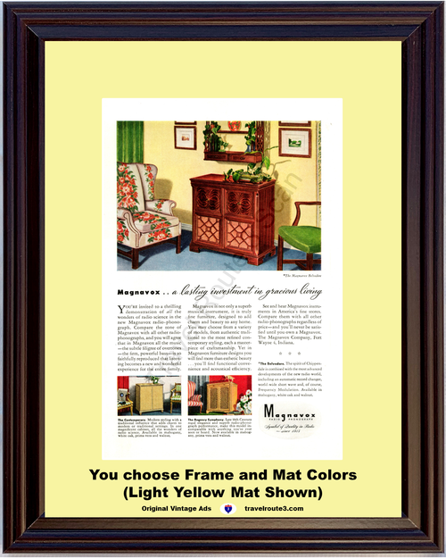 1946 Magnavox Belvedere Radio Phonograph Console Furniture Vintage Ad 46 *You Choose Frame-Mat Colors-Free USA S&H*