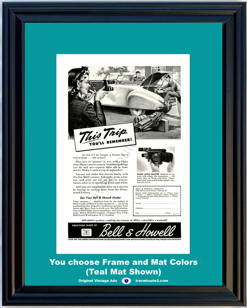 1946 Bell & Howell Movie Camera Vintage Ad Filmo Auto Master Home 46 *You Choose Frame-Mat Colors-Free USA S&H*
