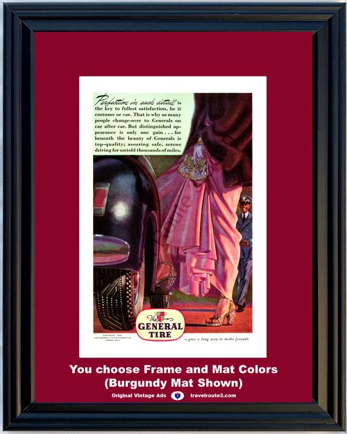 1946 General Tire Vintage Ad Antique Automobile Fashion Dress Fur Perfection Friends 46 *You Choose Frame-Mat Colors-Free USA S&H*