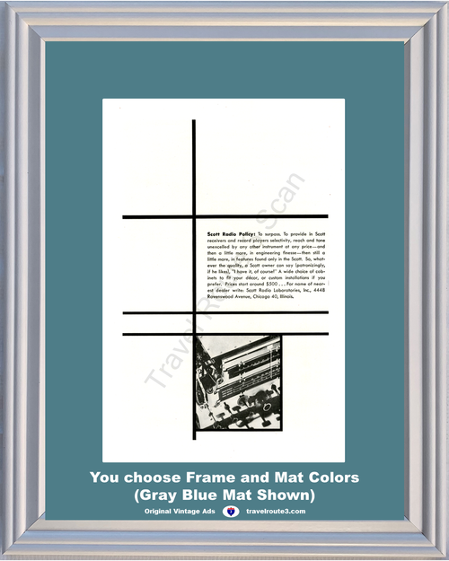 1946 Scott Radio Policy Vintage Ad Receivers Record Players Engineering 46 *You Choose Frame-Mat Colors-Free USA S&H*