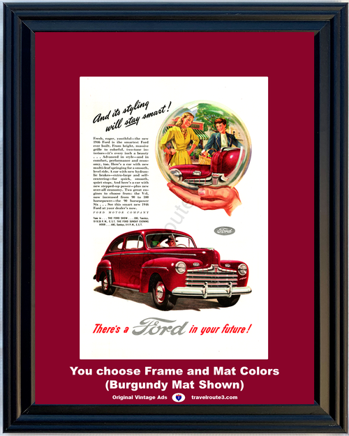 1946 Ford Crystal Ball Vintage Ad 46 2 Door Sedan Stay Smart Motor Company FoMoCo*You Choose Frame-Mat Colors-Free USA S&H*