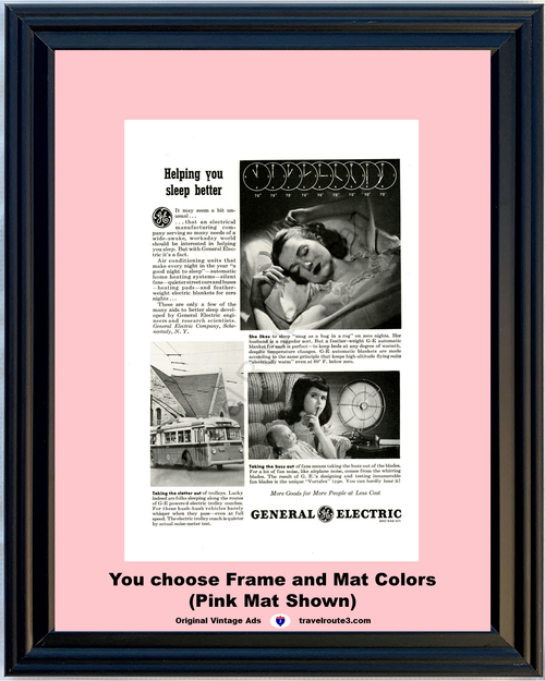 1946 General Electric GE Vintage Ad Trolley Blanket Fan Air Conditioning 46 *You Choose Frame-Mat Colors-Free USA S&H*