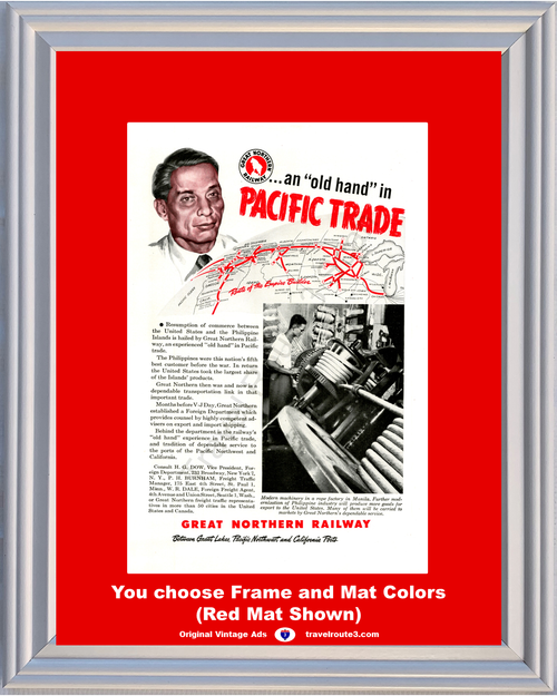 1946 Great Northern Railway Vintage Ad Old Hand Pacific Trade Railroad Train Manila Rope Factory 46 *You Choose Frame-Mat Colors-Free USA S&H*