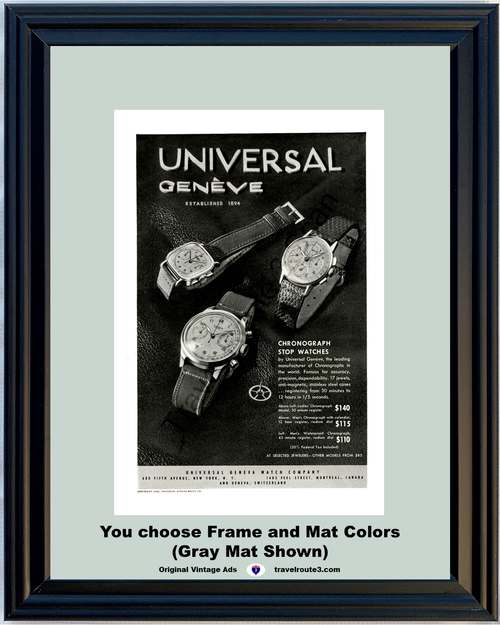 1946 Geneva Watch Company Vintage Ad Chronograph Stop Swiss Switzerland 46 *You Choose Frame-Mat Colors-Free USA S&H*