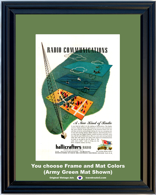 1946 Hallicrafters Radio Communications Vintage Ad Short Wave Electronic Equipment 46 *You Choose Frame-Mat Colors-Free USA S&H*