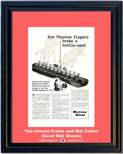 1946 Western Union Telegram Vintage Ad Keyboard Senders Phantom Fingers 46 *You Choose Frame-Mat Colors-Free USA S&H*