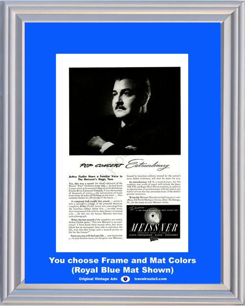 1946 Meissner Radio Phonograph Vintage Ad Arthur Fiedler Radar Television Pop Concert Extraordinary 46 *You Choose Frame-Mat Colors-Free USA S&H*
