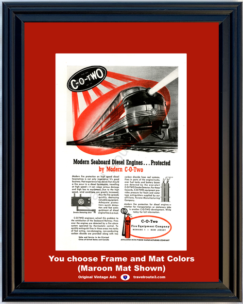 1946 C-O-Two Fire Extinguisher Vintage Ad Train Railroad Seaboard Diesel Engines Equipment Pyrene 46 *You Choose Frame-Mat Colors-Free USA S&H*
