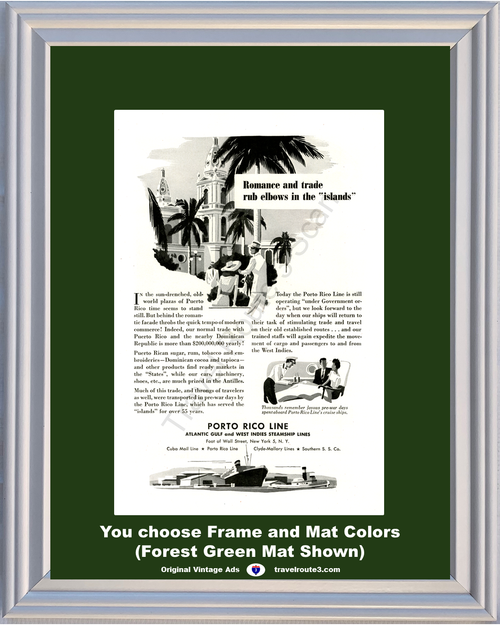 1946 Porto Rico Cruise Line Vintage Ad Puerto Romance Trade Run Elbows Islands 46 *You Choose Frame-Mat Colors-Free USA S&H*