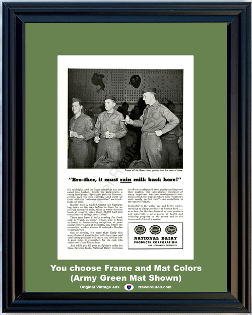 1946 Milk Army Soldiers Troops Vintage Ad National Dairy Products Queen Mary World War II WWII 46 *You Choose Frame-Mat Colors-Free USA S&H*