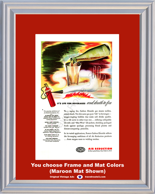 1946 AIRCO Fire Extinguisher CO2 Vintage Ad Carbon Dioxide Soft Drinks Air Reduction Life Death 46 *You Choose Frame-Mat Colors-Free USA S&H*
