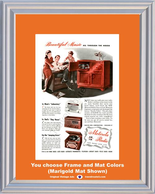 1946 Motorola Radio Phonograph Vintage Ad Music AM FM Home Car Aircraft Police Radar 46 *You Choose Frame-Mat Colors-Free USA S&H*