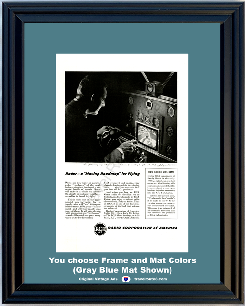 1946 RCA Airplane Radar Vintage Ad Moving Roadmap Pilot Radio Corporation of America 46 *You Choose Frame-Mat Colors-Free USA S&H*