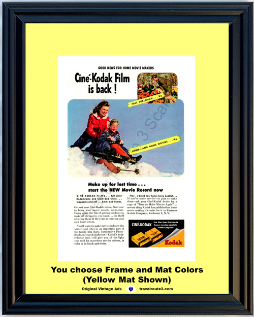 1946 Cine Kodak Movie Film Vintage Ad 8mm 16mm Home Color Sledding WWII Soldier 46 *You Choose Frame-Mat Colors-Free USA S&H*