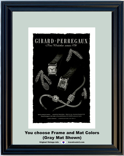 1946 Girard Perregaux Watch Vintage Ad Seahawk Waterproof Jewelers Jewelry 46 *You Choose Frame-Mat Colors-Free USA S&H*