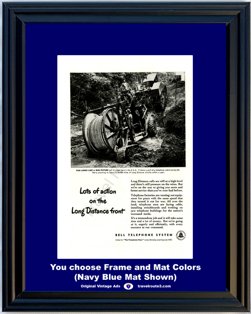 1946 Bell Telephone Long Distance Vintage Ad Cable Laying Action System ATT 46 *You Choose Frame-Mat Colors-Free USA S&H*