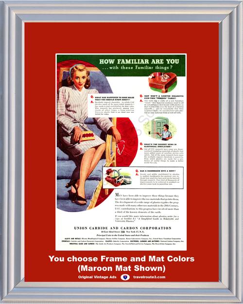 1946 Union Carbide Bakelite Vinylite Vintage Ad Shoes Dashboard Plastic Wood Table Carbon UCC 46 *You Choose Frame-Mat Colors-Free USA S&H*