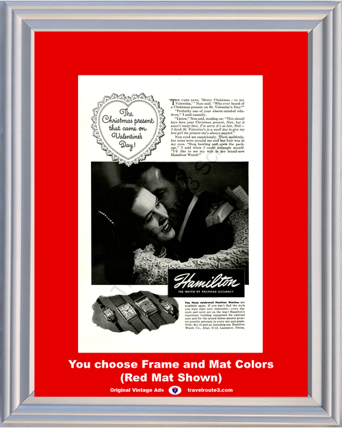1946 Hamilton Watch Vintage Ad Valentines Day Heart Wrist 46 *You Choose Frame-Mat Colors-Free USA S&H*