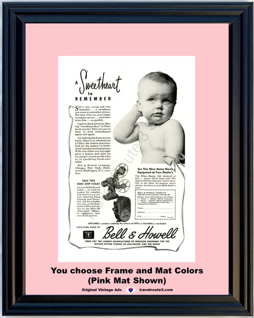 1946 Bell & Howell Sweetheart Vintage Ad Baby Home Movie Camera Projector 46 *You Choose Frame-Mat Colors-Free USA S&H*