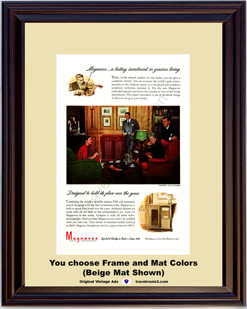 1946 Magnavox Radio Phonograph Vintage Ad Record Player Cabinet Entertainment 46 *You Choose Frame-Mat Colors-Free USA S&H*