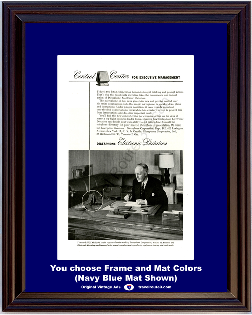1946 Dictaphone Dictating Machine Vintage Ad Electronic Dictation Executive Mangagement 46 *You Choose Frame-Mat Colors-Free USA S&H*