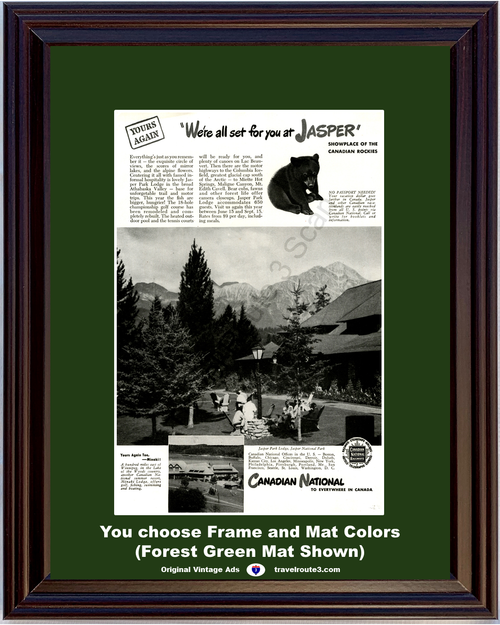 1946 Canadian National Railway Jasper Vintage Ad Canada Vacation Travel Rockies Bear National Park 46 *You Choose Frame-Mat Colors-Free USA S&H*