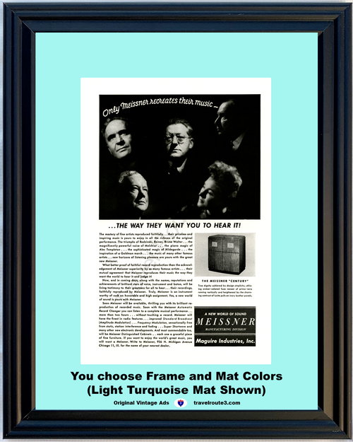 1946 Meissner Record Player Vintage Ad Phonograph Sound Music Rodzinski Reiner Bruno Walter 46 *You Choose Frame-Mat Colors-Free USA S&H*