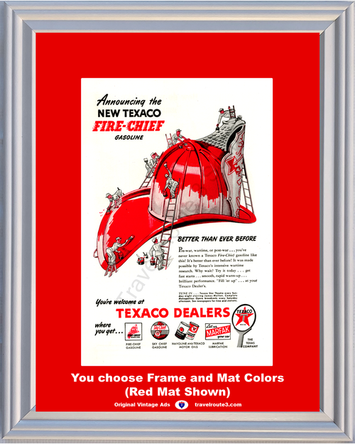 1946 Texaco Fire Chief Vintage Ad Helmet Gasoline Gas Havoline Texas Marfak Station Dealer 46 *You Choose Frame-Mat Colors-Free USA S&H*