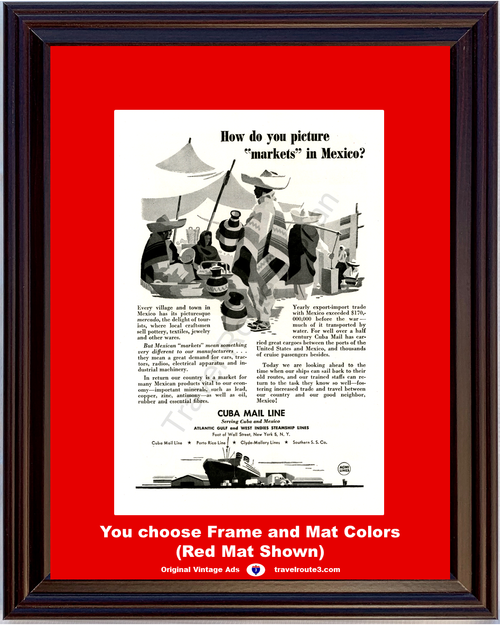 1946 Cuba Mexico Cruise Line Vintage Ad Mercado Markets Steamship Ship Vacation Travel 46 *You Choose Frame-Mat Colors-Free USA S&H*