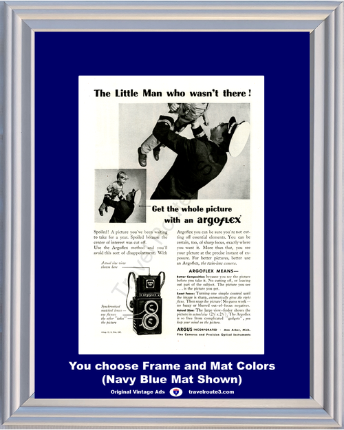 1946 Argoflex Navy World War II Vintage Ad Camera Picture Photograph Little Man 46 *You Choose Frame-Mat Colors-Free USA S&H*