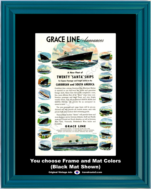 1946 Caribbean South America Cruise Vintage Ad Travel Vacation Santa Ships Grace Line 46 *You Choose Frame-Mat Colors-Free USA S&H*