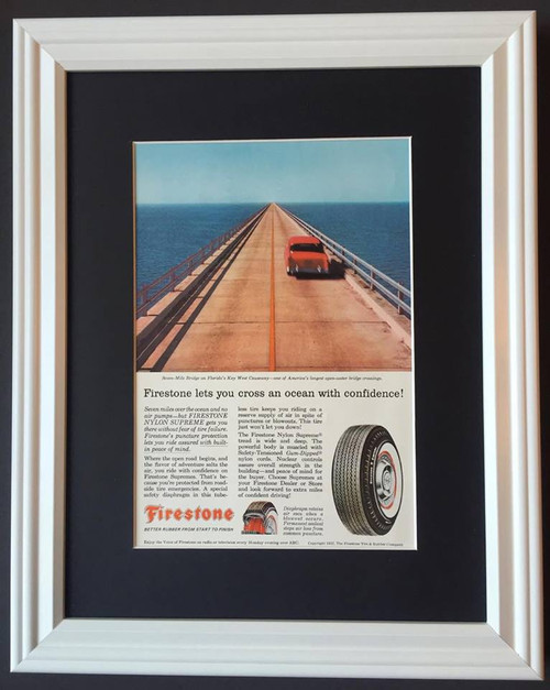 1957 57 Firestone Tire & Rubber Vintage Ad - Seven Mile Bridge Florida Key West Causeway Chevrolet Chevy Nylon Supreme White Wall  Tire, tires, rubber, wheel, wheels, radial, radials, white, nylon, wall, walls, whitewall, whitewalls, poly, polyester, polyesters, fiberglass, black, snow, steel, belted