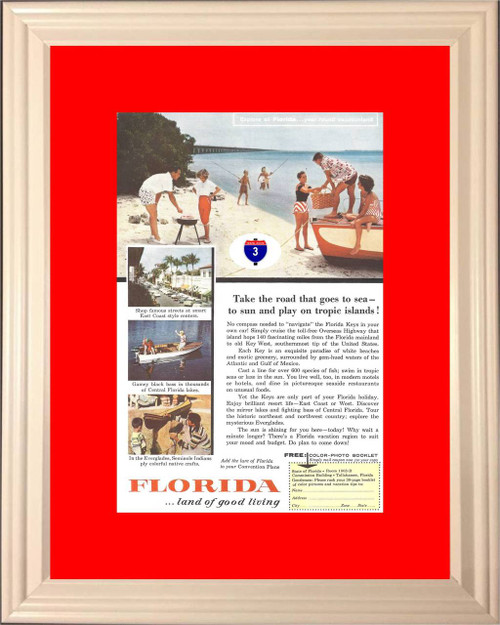 1957 Florida Vacation Vintage Ad Vacationland Travel Everglades Key West Land of Good Living Boat Boating *You Choose Frame-Mat Colors-Free USA S&H*