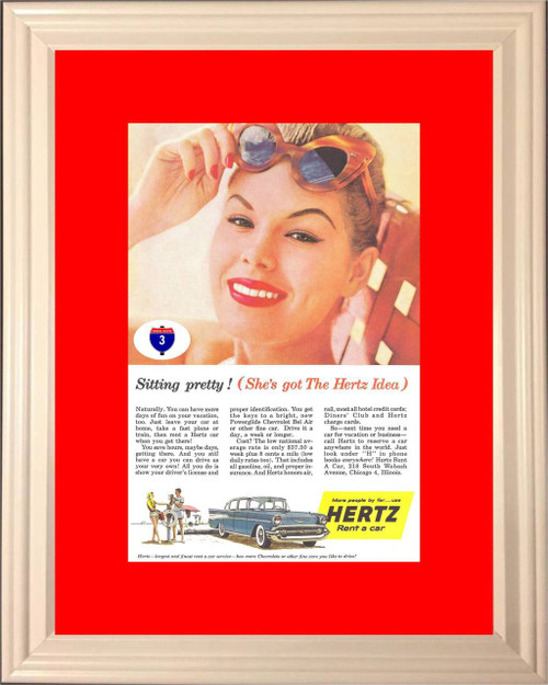 1957 Hertz Chevrolet Bel Air Vintage Ad 57 Chevy 4 Door Sedan Rent A Car Tri-Five Sitting Pretty Woman *You Choose Frame-Mat Colors-Free USA S&H*