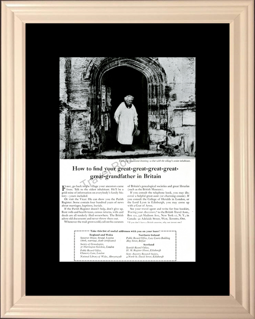 1957 57 Travel - Britain England Wales Northern Ireland Scotland United Kingdom Ancestor Hunting Vintage Ad