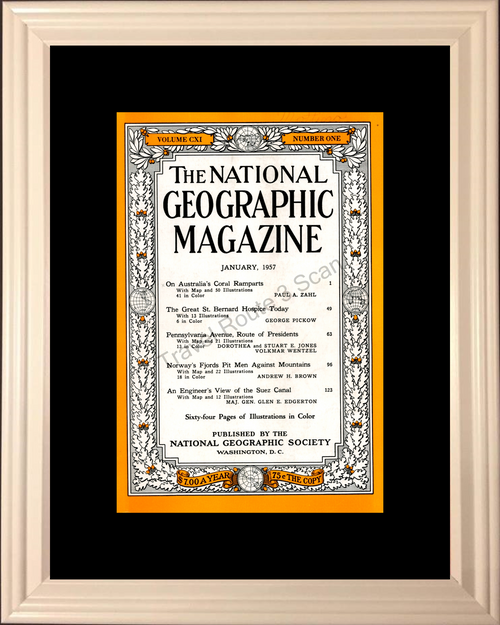 1957 January National Geographic Cover Volume CXI – Number One 57 *You Choose Frame-Mat Colors-Free USA S&H*