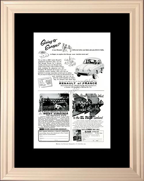 1957 57 Renault of France - West Virginia - El Paso Sunland - Vintage Travel Ad
