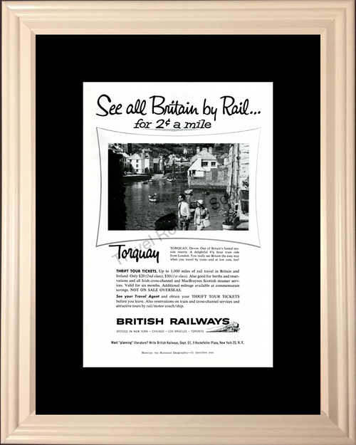 1957 57 British Railways Torquay Britain Train Railroad Travel Vintage Ad