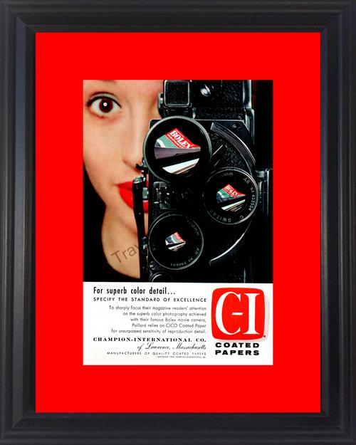 1957 57 Champion International C-I Paillard Color Photography Bolex Movie Camera Vintage Ad