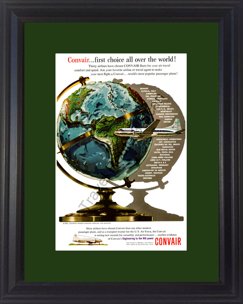 1954 Convair Passenger Airplane Vintage Ad Air Plane Airlines Aircraft Robert Anstead Jeweler Globe 54 *You Choose Frame-Mat Colors-Free USA S&H*