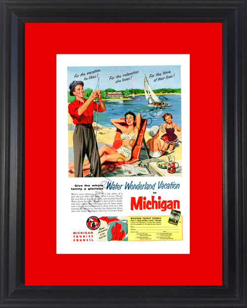 1954 54 Michigan MI Water Wonderland Vacation Travel Vintage Ad